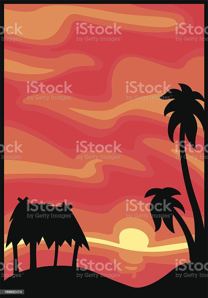 hawaiian sunset royalty-free stock vector art