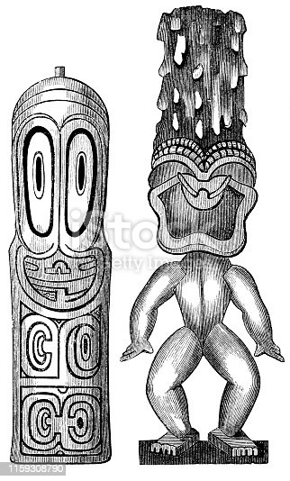 Engraving from 1873 showing ancient Hawaiin Gods.