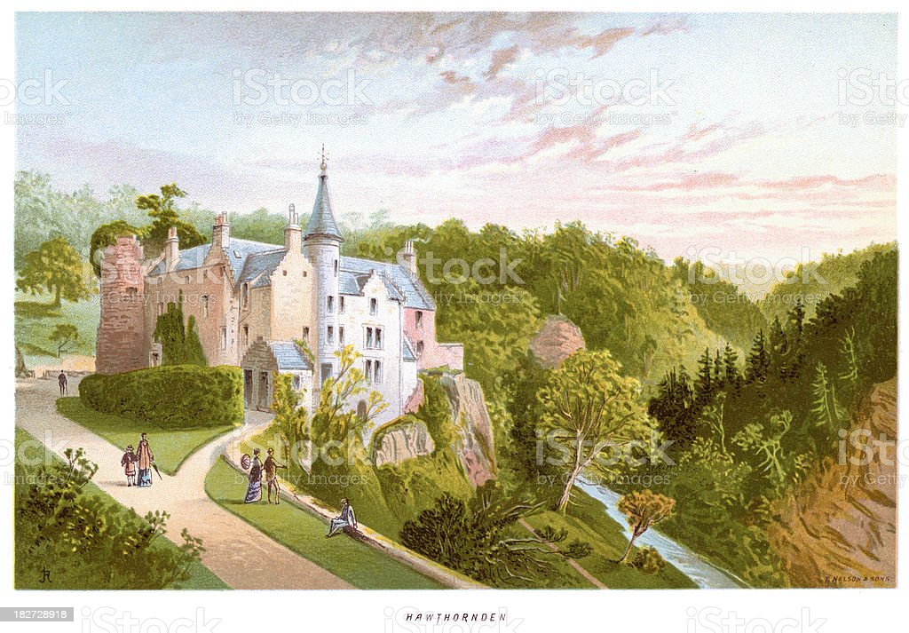 Hawthornden Castle royalty-free stock vector art