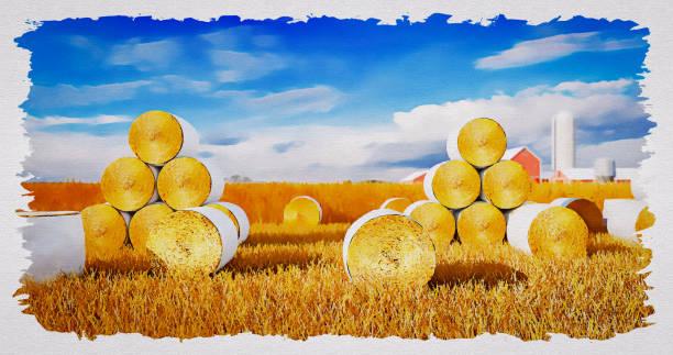 ilustraciones, imágenes clip art, dibujos animados e iconos de stock de heno bales en un campo (acuarela) - straw field