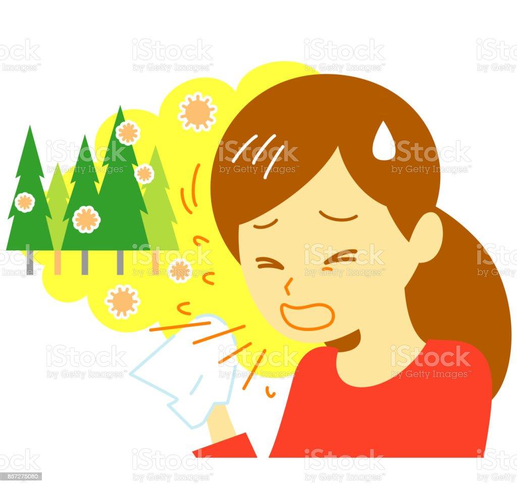 hay fever, sneezing, woman vector art illustration