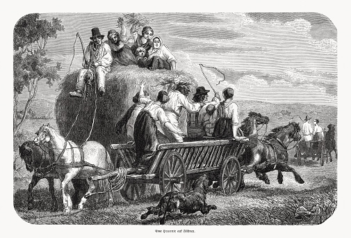 Haymaking on Funen (Denmark) in the past, woodcut, published 1868