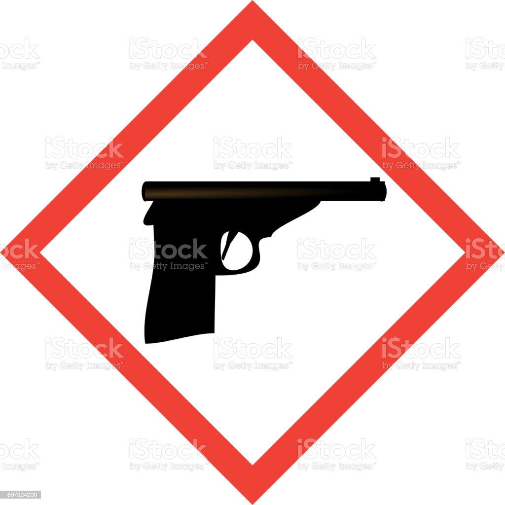 Hazard Sign With Gun Symbol Stock Vector Art & More Images