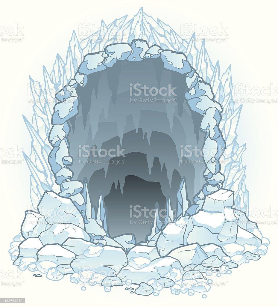 Hazardous Ice Cave vector art illustration