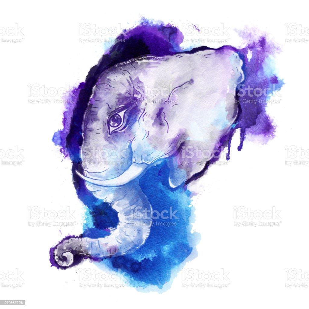 Head of elephant vector art illustration