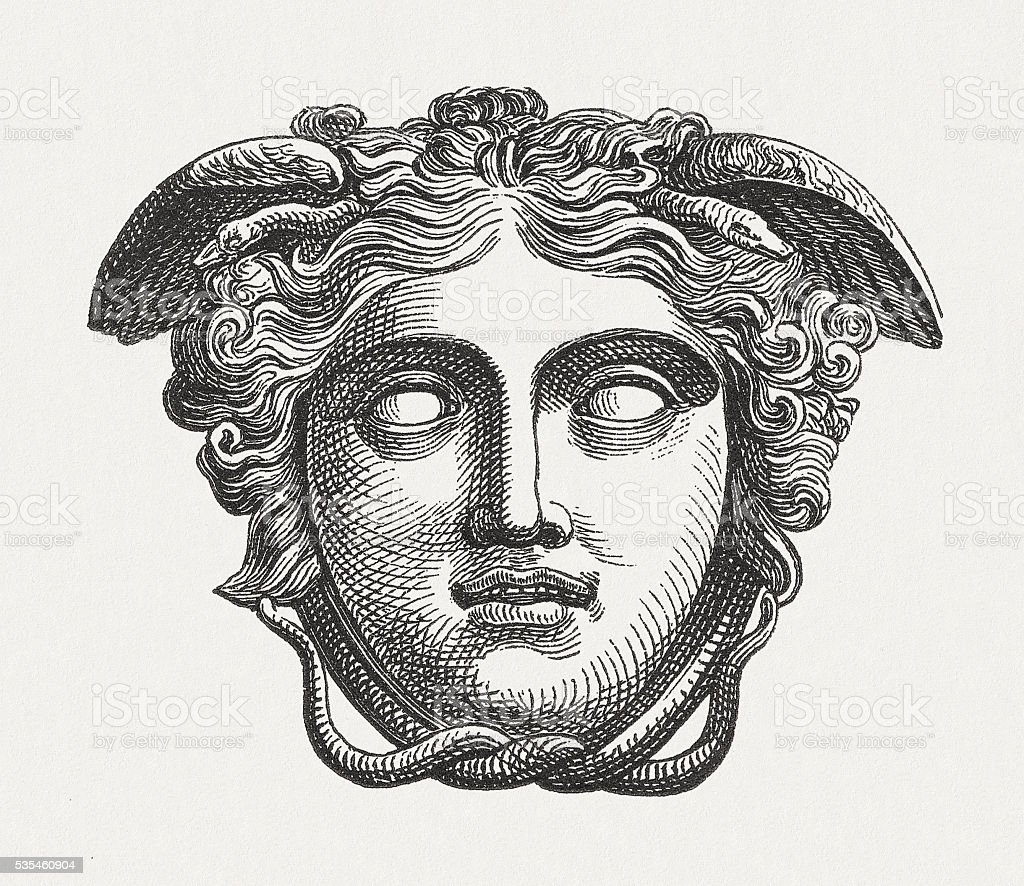 Head of Medusa, figure of the Greek mythology, published 1880 vector art illustration