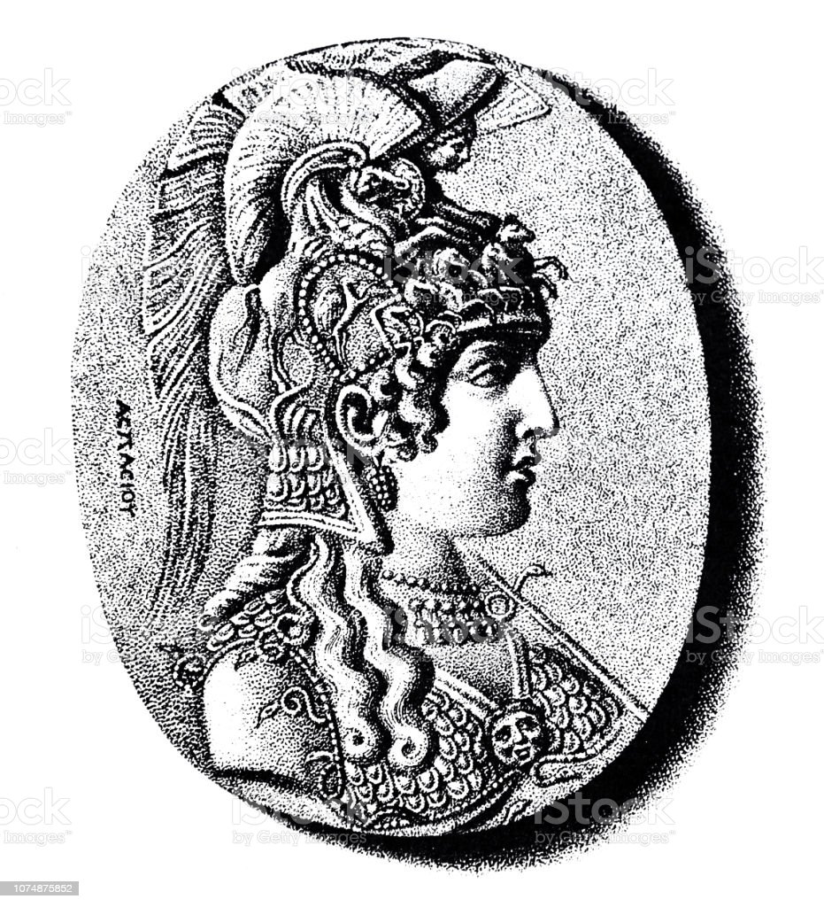 Head of Parthenos virgin vector art illustration