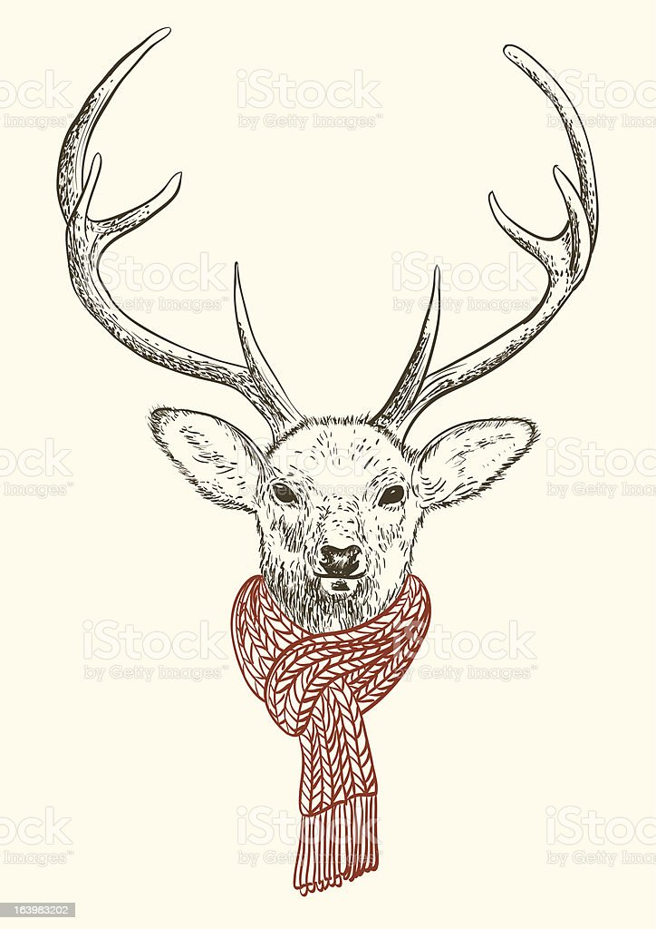 Head of stag royalty-free stock vector art