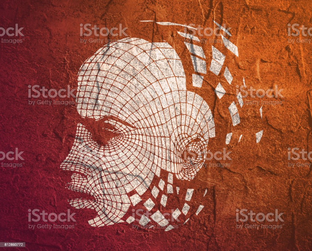 Head of the Person from a 3d Grid. vector art illustration