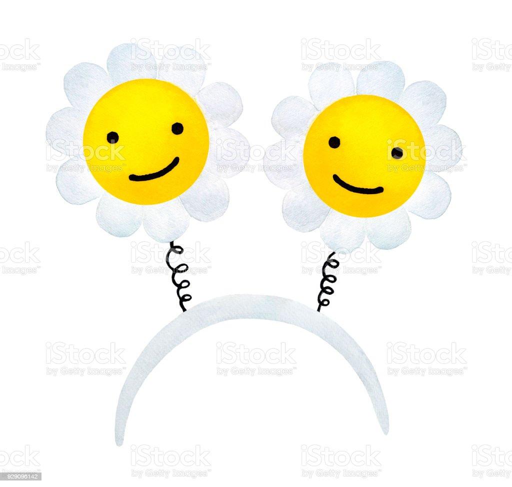 Headband With Happy Smiling Sunny Daisy Flowers Stock Vector Art