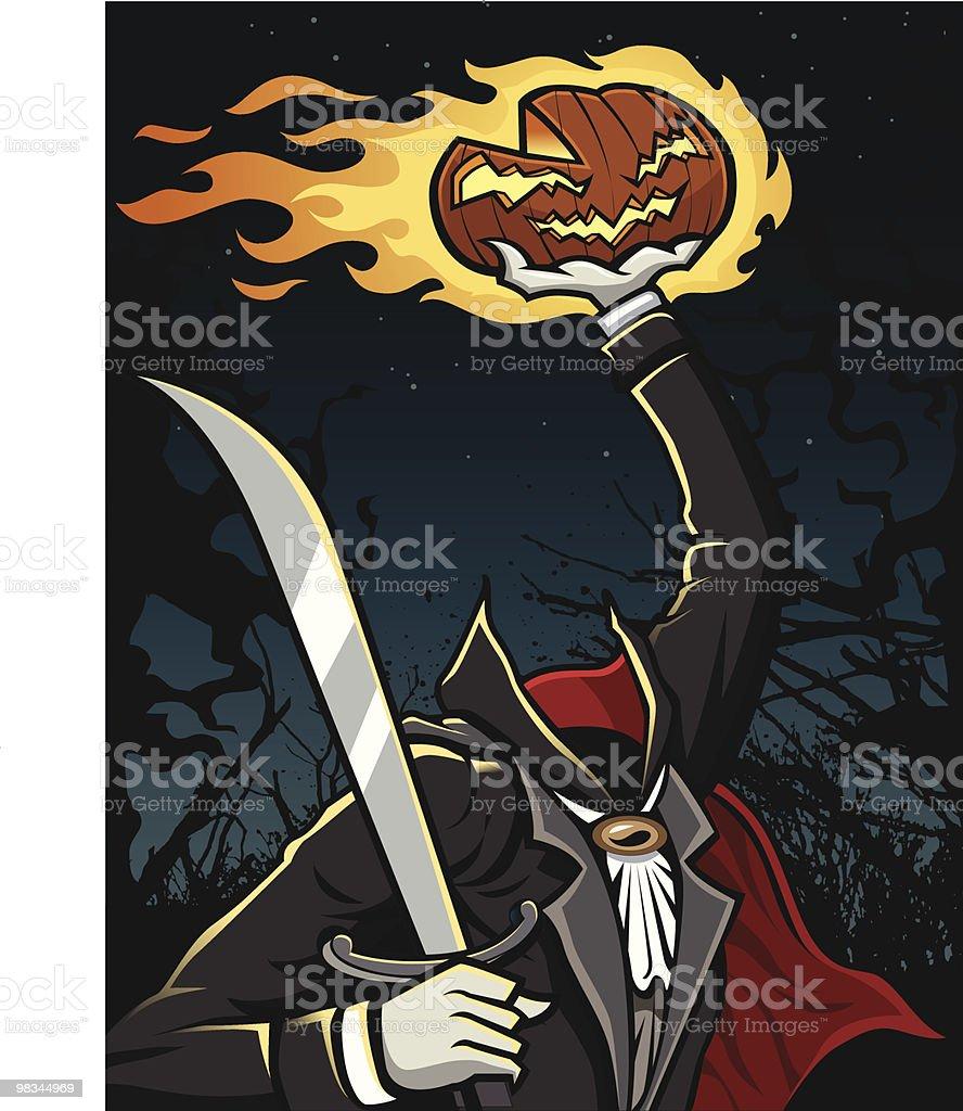 Headless Horseman holding Jack-O-Lantern royalty-free headless horseman holding jackolantern stock vector art & more images of cape - garment