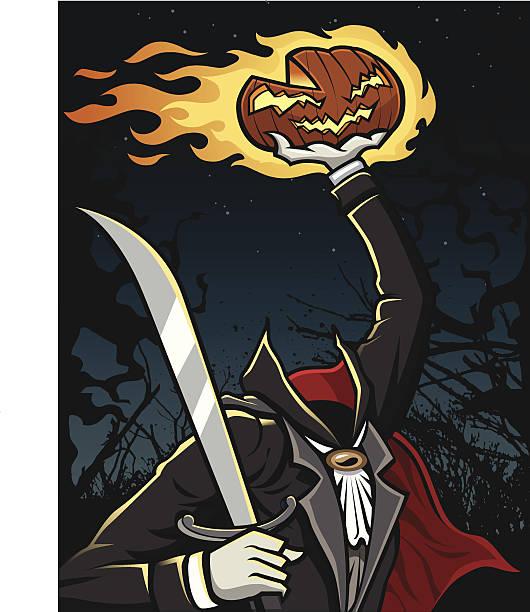 headless horseman holding jack-o-lantern - 被砍頭 幅插畫檔、美工圖案、卡通及圖標