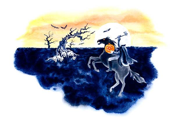 Headless Horseman Rides Again vector art illustration