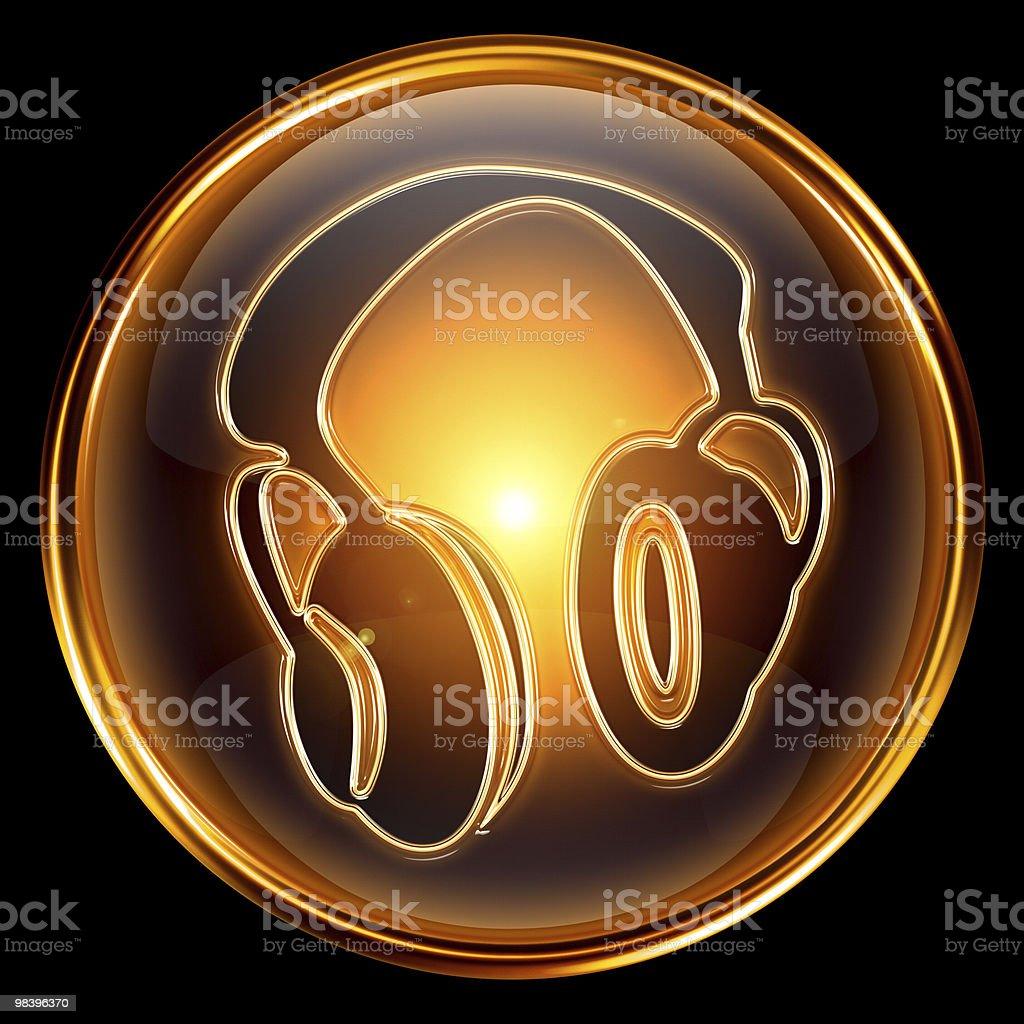 Headphones icon golden, isolated on black background. royalty-free headphones icon golden isolated on black background stock vector art & more images of audio equipment