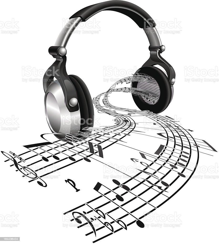 Headphones Sheet Music Notes Concept Stock Illustration