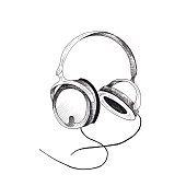 Headphones sketch. Hand-drawn black headphones sketch, isolated on white background. Sketch style illustration.
