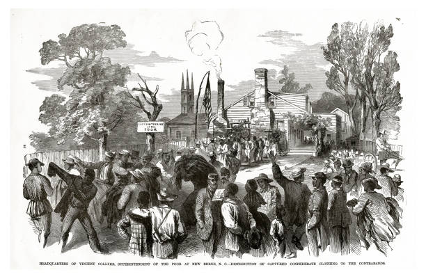 Headquarters of Vincent Collier, Superintendent of the Poor at New Berne, North Carolina, Civil War Engraving vector art illustration