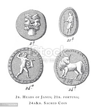 Heads of janus, Fortuna and Sacred Coin, Religious Rites and figures of Ancient Greece and Rome Engraving Antique Illustration, Published 1851. Source: Original edition from my own archives. Copyright has expired on this artwork. Digitally restored.