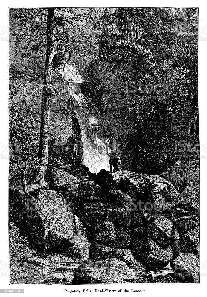 Headwaters of the Roanoke River, Virginia, wood engraving (1872) vector art illustration