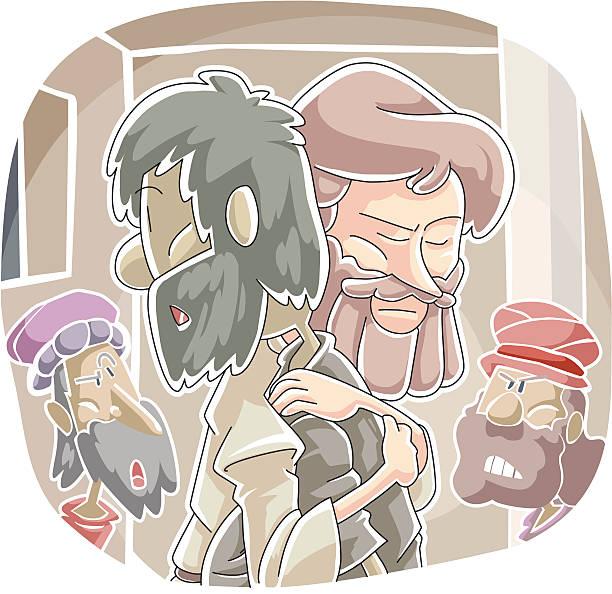 Healing dropsy at a Pharisee's House vector art illustration