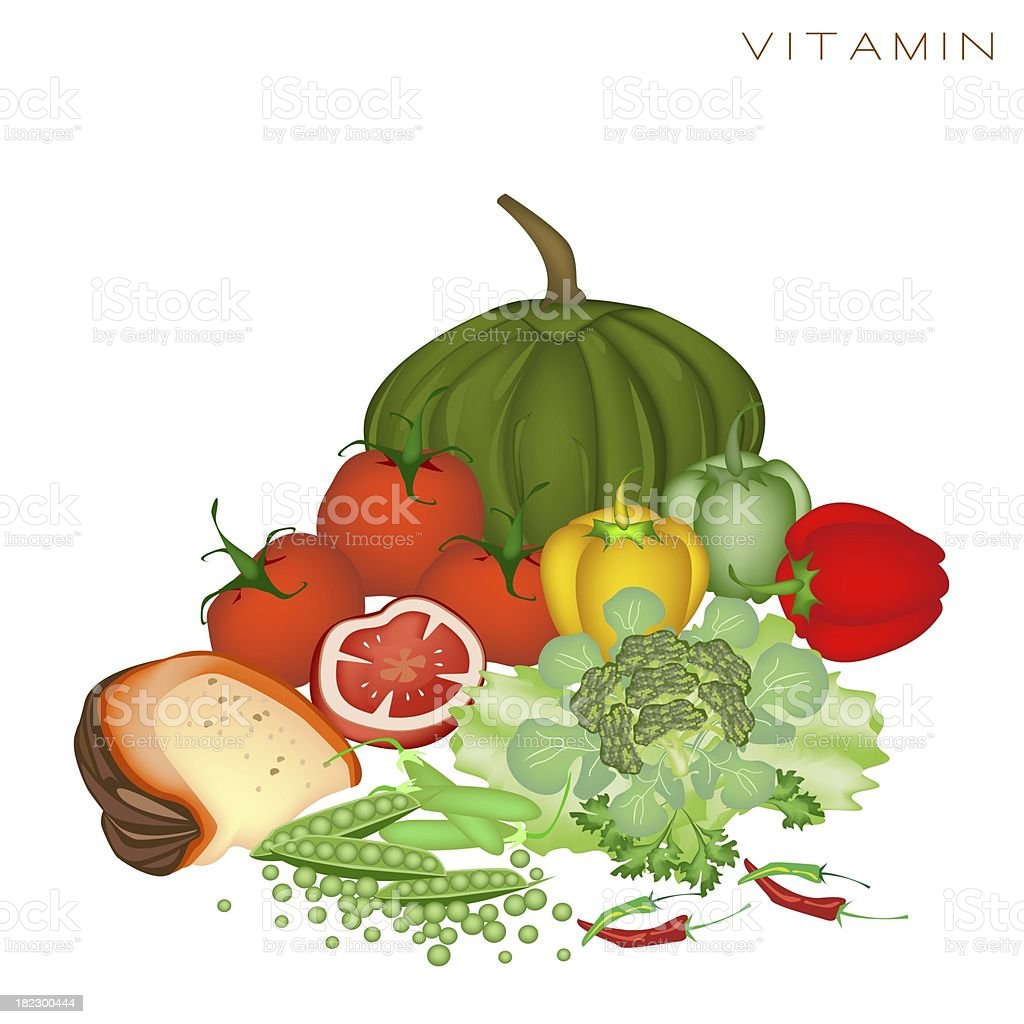 Health and Nutrition Benefits of Vitamin Foods royalty-free stock vector art