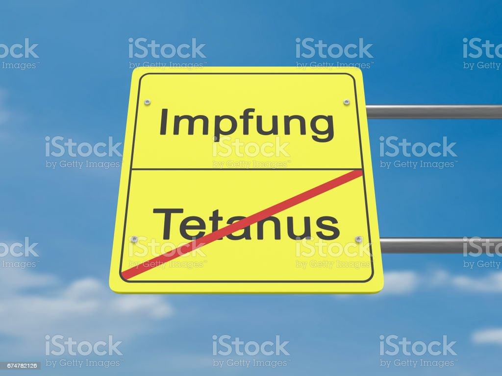 Health Concept Road Sign Impfung Und Tetanus Meaning Vaccination And Tetanus In German Language 3d Illustration Stock Illustration Download Image Now Istock