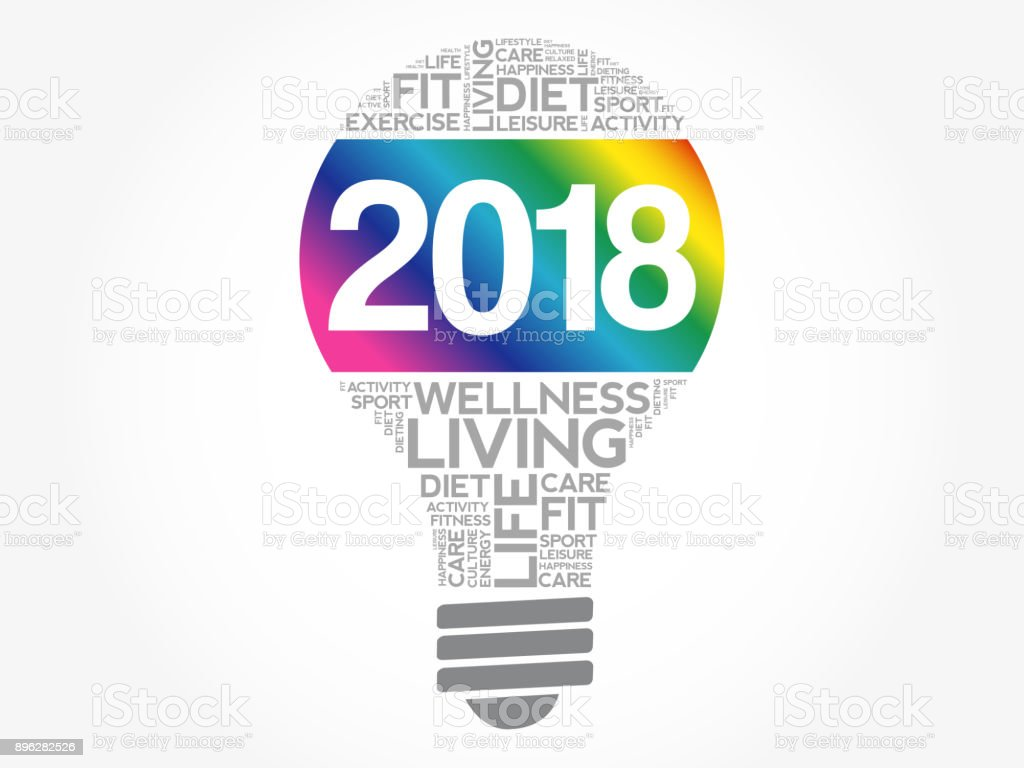 2018 health goals bulb word cloud vector art illustration