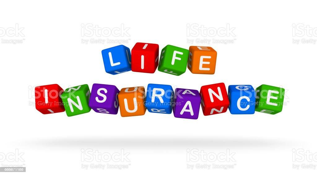 Assurance santé signe coloré. Blocs de jouets multicolores. - Illustration vectorielle
