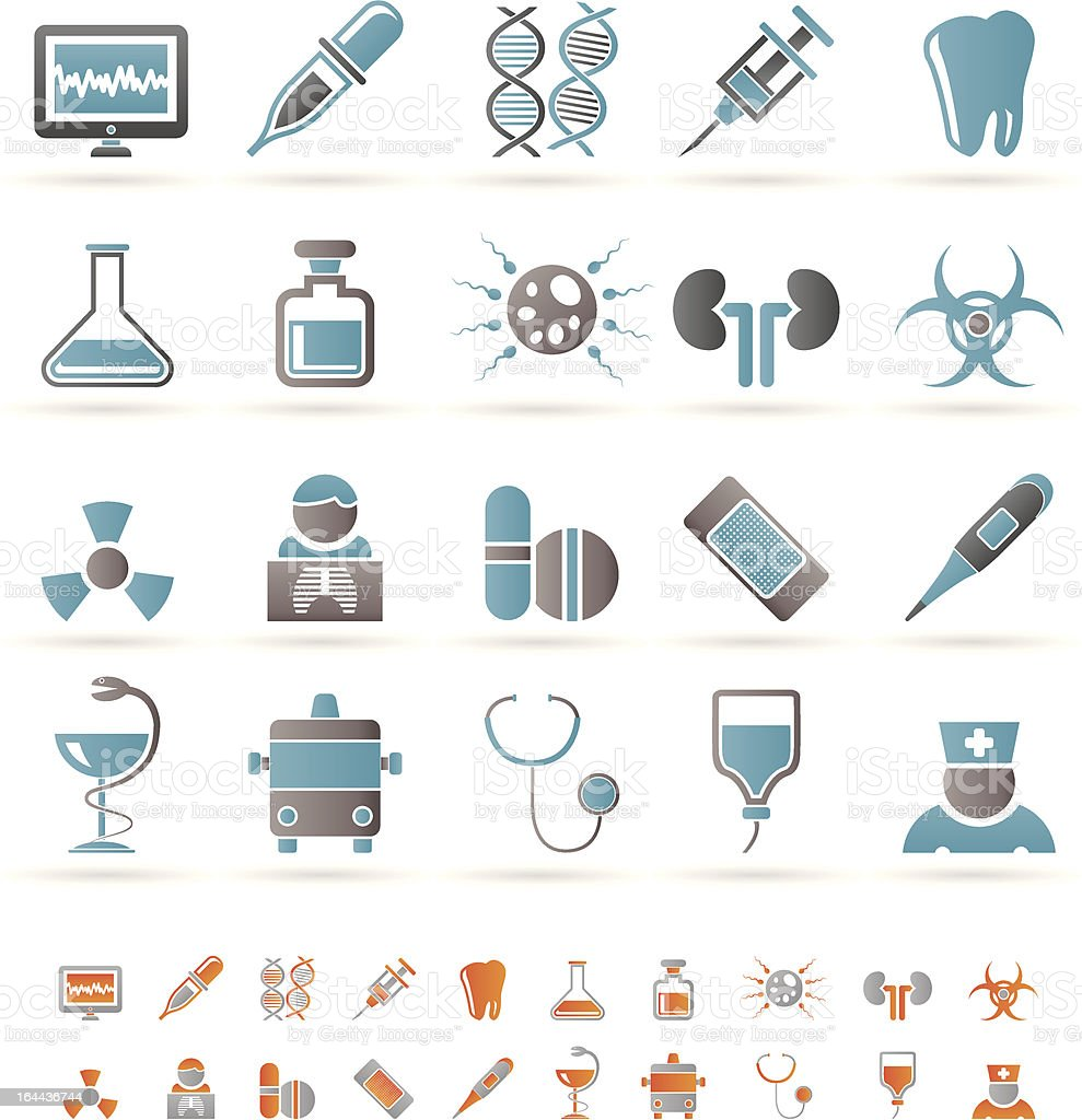 Healthcare, Medicine and hospital icons royalty-free stock vector art