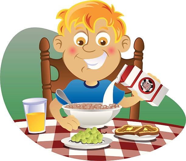 Best Boy Eating Breakfast Illustrations, Royalty-Free