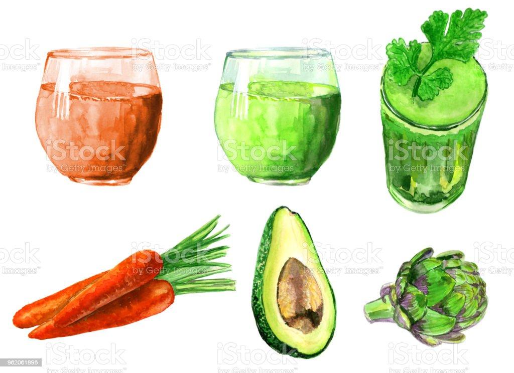Gesunde Ernährung Frische Lebensmittel Gemüse Früchte Zeichnen Von ...