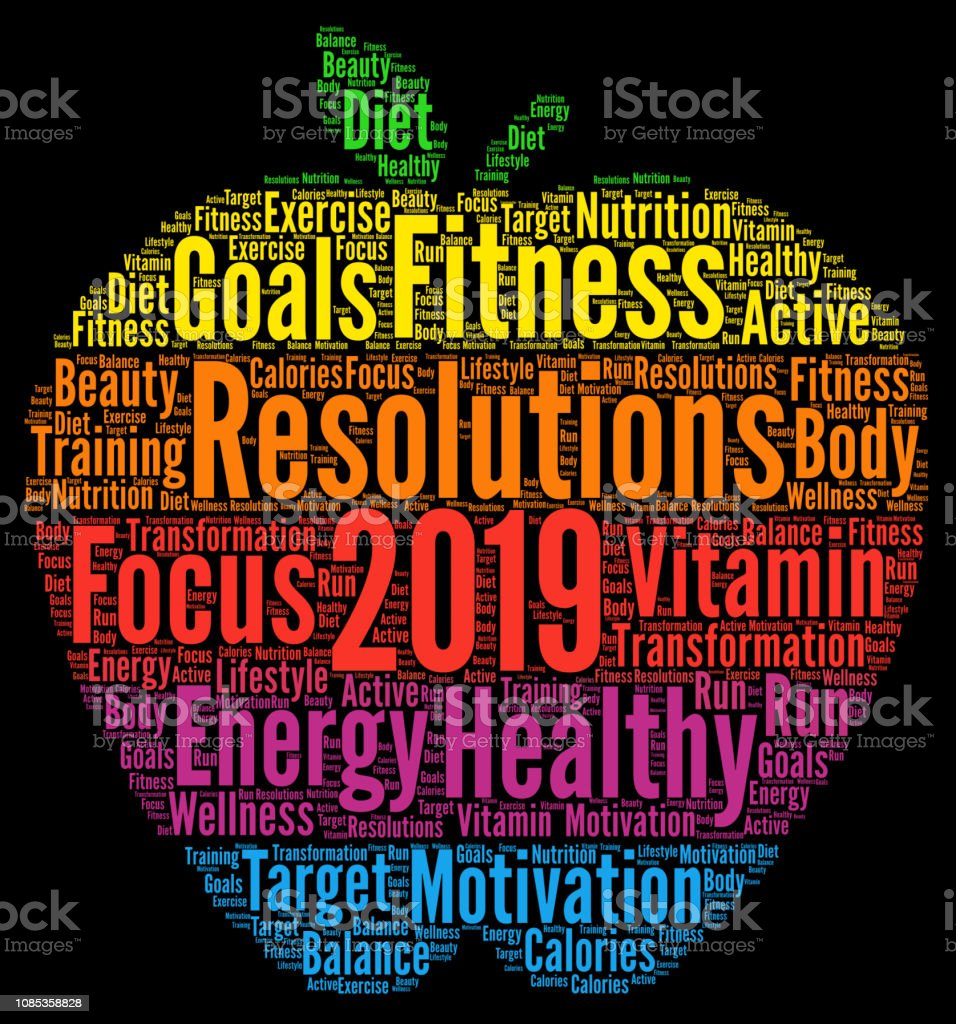 Healthy Resolutions 2019 Word Cloud Stock Illustration
