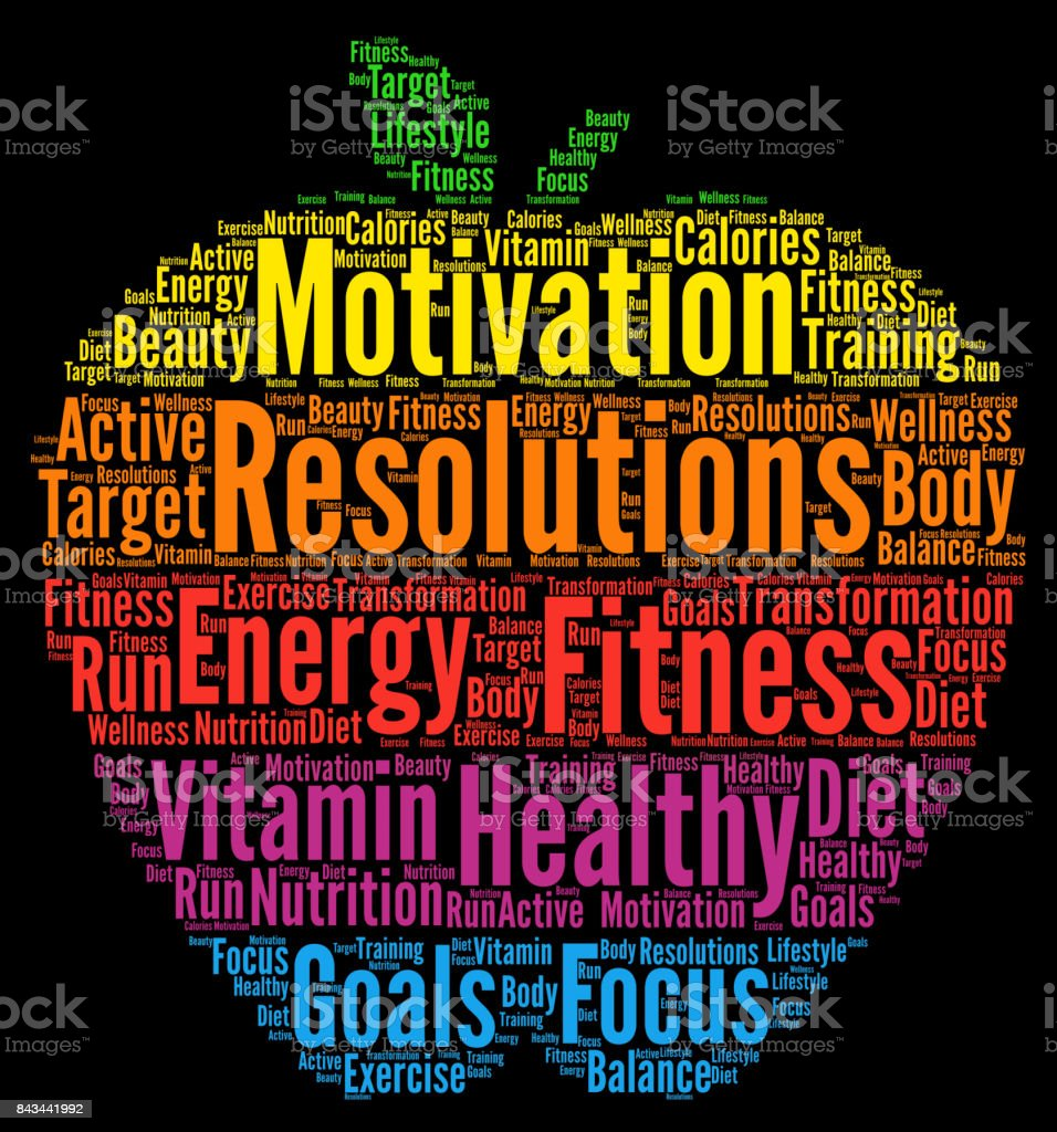 Healthy Resolutions word cloud vector art illustration