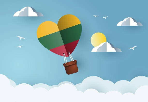 Heart air balloon with Flag of Lithuania Heart air balloon with Flag of Lithuania for independence day or something similar lithuania stock illustrations