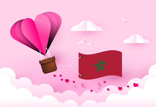 Heart air balloon with Flag of Morocco