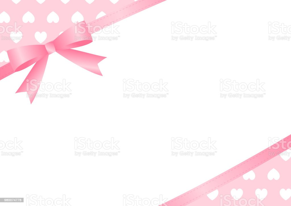 Heart and ribbon copy space (Lateral direction) vector art illustration