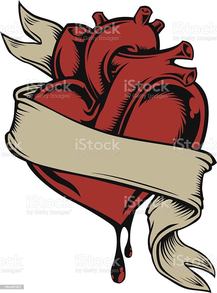 Heart and ribbon vector art illustration
