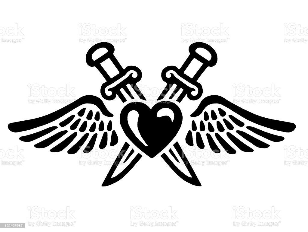 Coração e asas com dois punhais - ilustração de arte em vetor