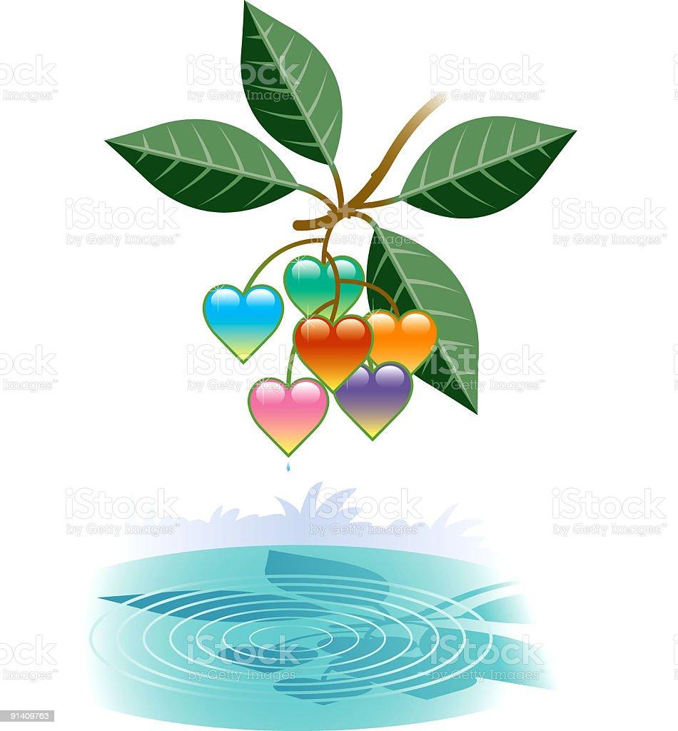 Heart berries. vector art illustration
