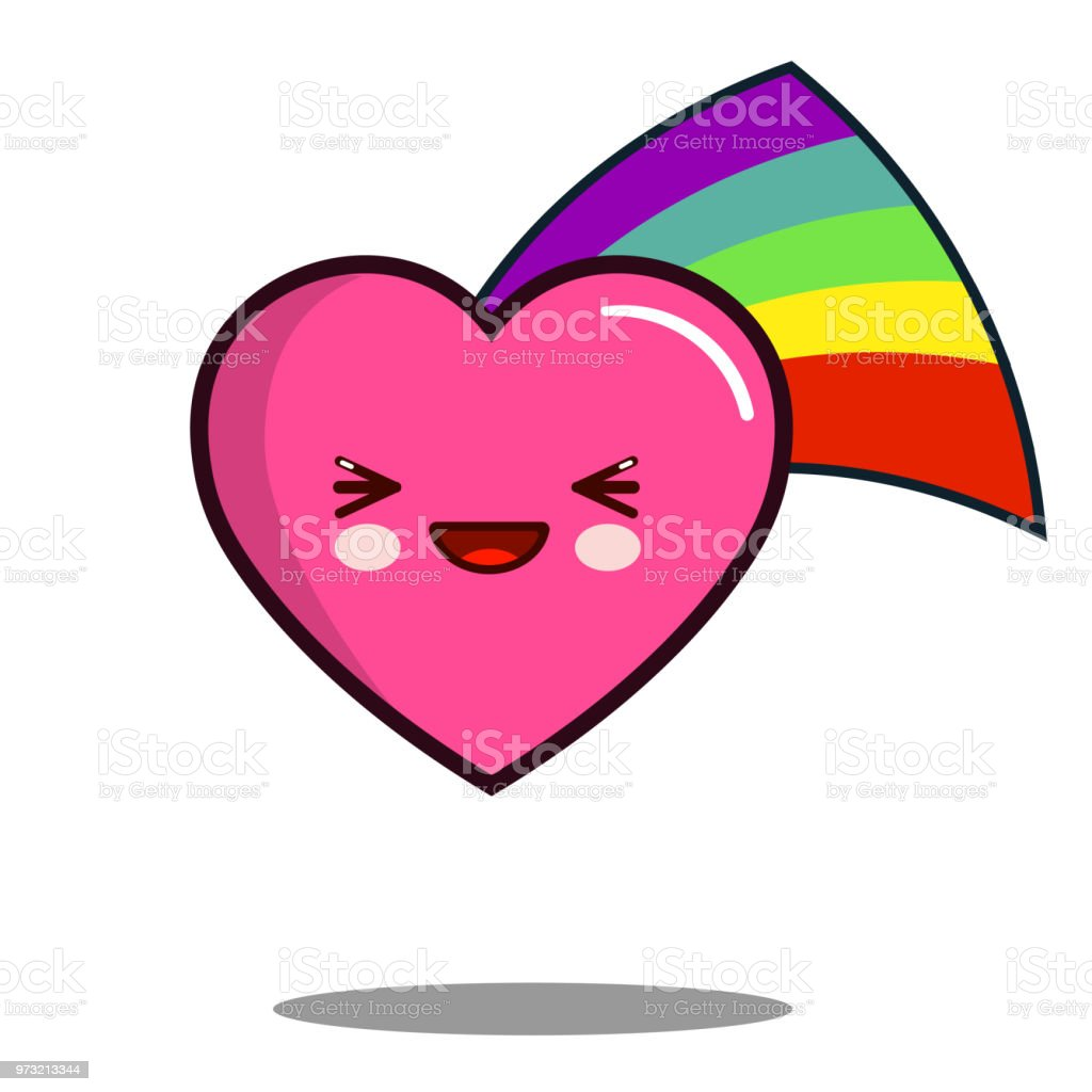 Coeur Dessin Animé Caractère Icône Kawaii Avec Design Plat Arcenciel