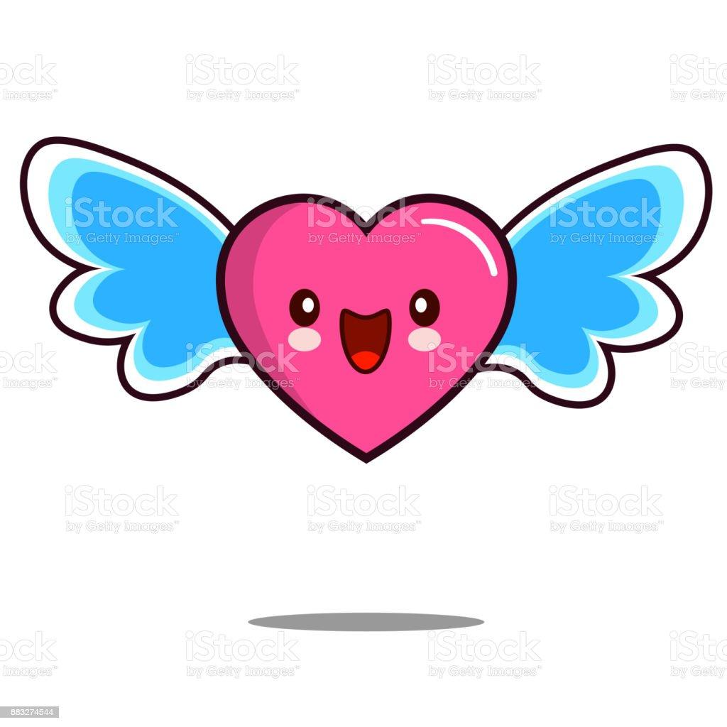 Coeur Dessin Animé Caractère Icône Kawaii Avec Ailes Plates Design Vectoriel Vecteurs Libres De Droits Et Plus D Images Vectorielles De Amour