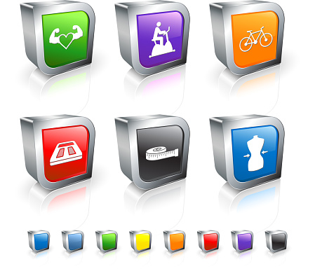 heart exercise and fitness 3D royalty free vector icon set