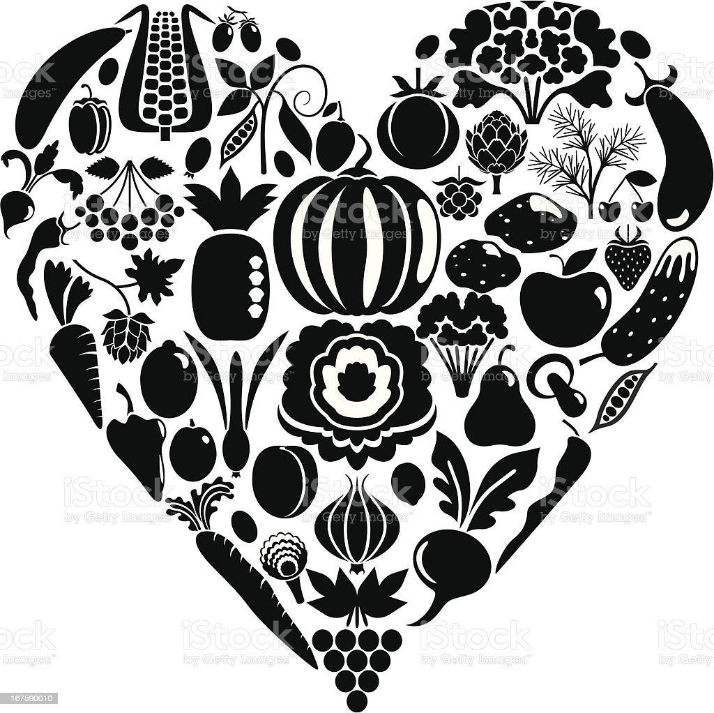 Heart from vegetables royalty-free stock vector art