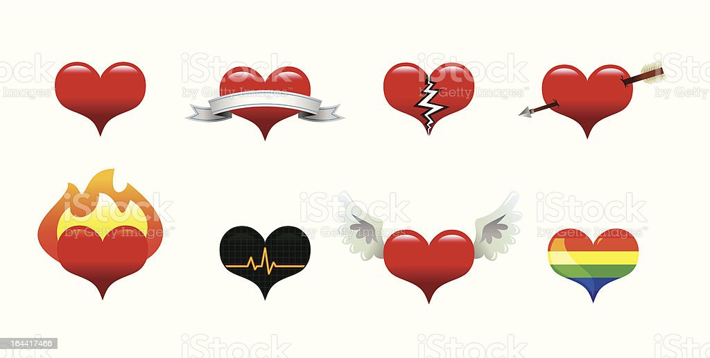 Heart Icons - Royalty-free Affectionate stock vector