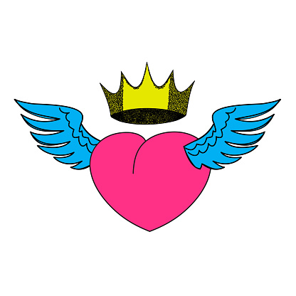 Heart in a crown with wings. Love heart is a romantic composition. Valentine's day greeting card template. Linear illustration on a white background. Heart Wing Logo  illustration isolated , logo, t-shirt design, tattoo