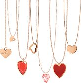 Golden jewellery chain with heart pendants.EPS10 illustration file contains a transparency blends/gradients.