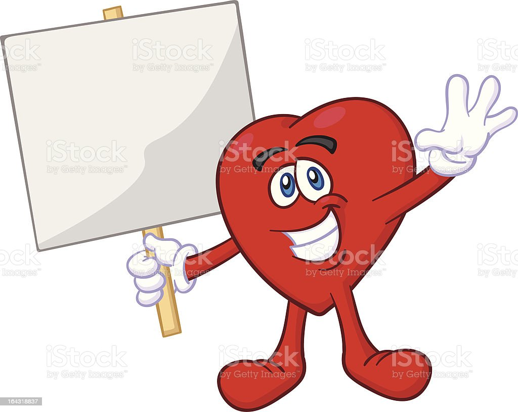 Heart Mascot Holding Placard royalty-free stock vector art