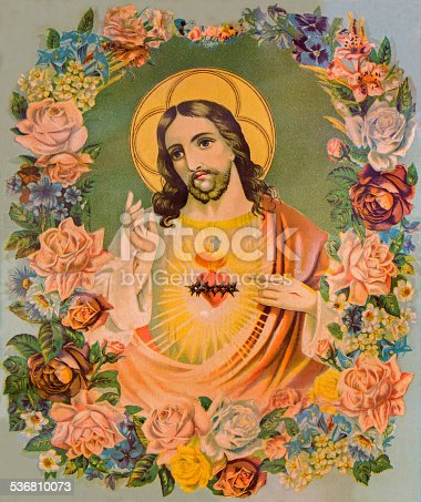 Sebechelby - Typical catholic image of heart of Jesus Christ in the flowers from Slovakia printed in Germany from the end of 19. cent. originally by unknown artist.