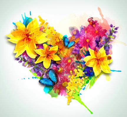 Heart of Watercolor Flowers
