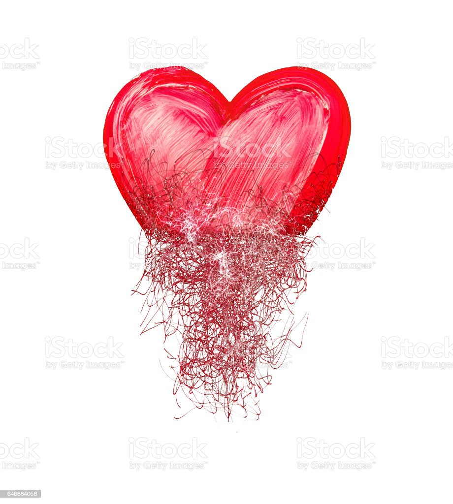 Heart painted from tangle of scribbles vector art illustration